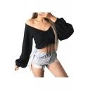 V Neck Long Sleeve Plain Drawstring Front Cropped Knit Top