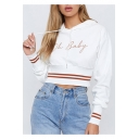 OH BABY Letter Printed Contrast Striped Long Sleeve Cropped Hoodie