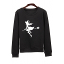 Flying Warlock Printed Round Neck Long Sleeve Sweatshirt