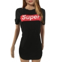 SUPER Letter Graphic Printed Round Neck Short Sleeve Mini T-Shirt Dress