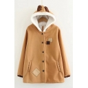 Button Front Deer Horn Embellished Hood Square Applique Long Sleeve Hooded Coat