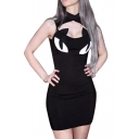 Sexy Cat Pattern High Neck Hollow Out Front Sleeveless Mini Bodycon Dress