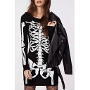 Slim Skeleton Printed Round Neck Long Sleeve Mini T-Shirt Dress