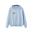 Squirrel Letter Embroidered Long Sleeve Hoodie
