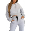 Chain Drawstring Hood Plain Long Sleeve Crop Hoodie