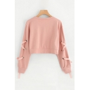 Plain Lace Up Long Sleeve Round Neck Cropped Sweatshirt