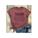 Fashion TEACHER Letter Printed Round Neck Short Sleeve T-Shirt