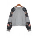 Contrast Floral Printed Round Neck Long Sleeve Casual Sweatshirt