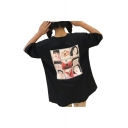 Cartoon Character Japanese Printed Round Neck Short Sleeve T-Shirt