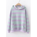 Color Block Stripe Long Sleeve Casual Hoodie