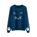 Cat Paw Printed Round Neck Long Sleeve Casual Pullover Sweatshirt