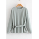 Plain Round Neck Long Sleeve Buckle Straps Waist Leisure Sweatshirt