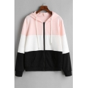 Casual Color Block Zip Placket Long Sleeve Hoodie