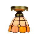 Mini 6/8-Inch Wide Flush Mount Light with Tiffany-Style Orange Stained Glass Shade, Down Lighting