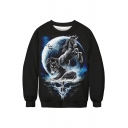 3D Moon Unicorn Print Round Neck Long Sleeve Sweatshirt