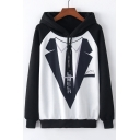 Blazer Tie Print Color Block Raglan Long Sleeve Leisure Hoodie