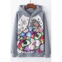 Color Block Drawing Cat Print Long Sleeve Leisure Hoodie