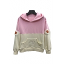 Cute Bread Embroidered Egg Applique Color Block Long Sleeve Hoodie