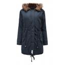Plain Long Sleeve Fishtail Hem Concealed Zip Closure Hooded Parka Coat