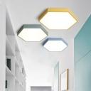 Multicolors Metal LED Ceiling Light Fixture Hexagon Shaped Led Surface Mount Lighting 18/24/40W 3000-3300/6000-6500K Decorative Hexagonal LED Flush Light in Green/Yellow/Blue