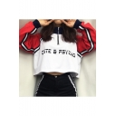 Letter Printed Half-Zip Stand Collar Color Block Long Sleeve Crop Sweatshirt