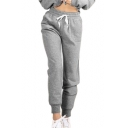 Drawstring Waist Leisure Plain Loose Sports Pants