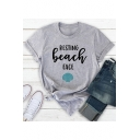 RESTING BEACH Letter Shell Printed Round Neck Short Sleeve T-Shirt