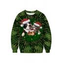 Cute Christmas Animal Printed Round Neck Long Sleeve Sweatshirt