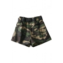 Camouflage Printed High Waist Leisure Shorts with Cargo Pockets