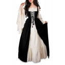 Contrast Two Pieces Off The Shoulder Plain Flare Long Sleeve Maxi A-Line Dress with Tunic Lace Up Front Corset