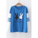KAWAII Letter Rabbit Printed Color Block Long Sleeve Tee
