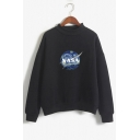 Painting NASA Letter Print High Neck Long Sleeve Sweatshirt