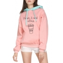 FIRST Letter Coffee Print Contrast Hood Long Sleeve Hoodie