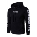 Slim NUMBER Letter Printed Long Sleeve Sports Hoodie