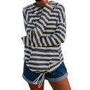 Striped Long Sleeve Drawstring Waist Casual Hoodie