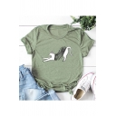 Spring Cat Printed Round Neck Short Sleeve T-Shirt