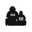 EXO Letter Contrast Striped Long Sleeve Leisure Hoodie