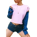 Color Block Denim Long Sleeve Patchwork Metal Ring Detail Round Neck Distressed Cropped Sweatshirt