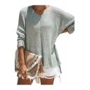 V Neck Plain Long Sleeve Loose Drop-Tail Hem Sweater