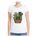 FREE HUGS Letter Cactus Printed Round Neck Short Sleeve T-Shirt