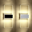 Creative Minimalist Striped Led Frame Wall Light Brushed Silver/Black Acrylic 7W Led Ambient Wall Sconces for Bedroom Living Room Corridor