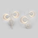Slim Acrylic Modern Wall Sconces in White, 8W/9W 2 Lights Round LED Wall Light 11.02 Inch Wide Suspenders LED Sconces 360° Head Swivel 2 Designs for Option