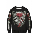 Floral Skeleton Print Round Neck Long Sleeve Sweatshirt