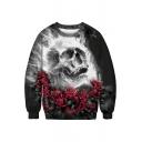 Skull Rose Printed Round Neck Long Sleeve Loose Sweatshirt