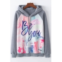 Chic BE YOU Letter Graphic Print Color Block Raglan Sleeve Hoodie