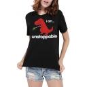 UNSTOPPABLE Letter Dinosaur Print Round Neck Short Sleeve T-Shirt