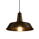 Retro Style 1 Light Industrial Pendant Lamp with Distressed Bronze Barn Shade 18.11