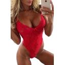 Sexy Lace Plain Spaghetti Straps Sleeveless Bodysuit