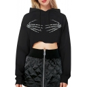 Hand Bone Printed Long Sleeve Leisure Cropped Hoodie