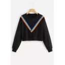 Rainbow Striped Straps Patched Round Neck Long Sleeve Crop Sweatshirt